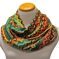 Green Multi Color Zig-Zag Tribal Print Infinity Circle Ring Scarf