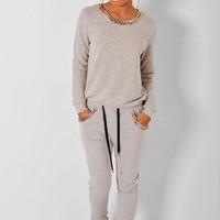 Jada Grey & Gold Effect Chain Tracksuit | Pink Boutique