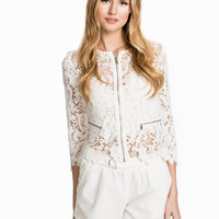White Lace Embroidered Zipper Down Top