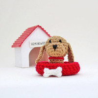 Amigurumi miniature crochet dog. Crochet dog. Miniature dog with extras. Amigurumi dog. Stocking stuffer.