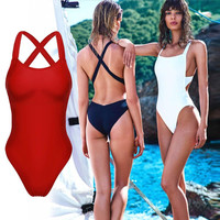 One Piece Swimsuit 2016 Sexy Swimwear Women Bodysuit Bathing Suit Swim Vintage Summer Beach Wear Solid Monokini Swimsuit