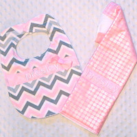 Personalized Burp Cloth and Bib Set with Bow - Baby Girl Pink and Gray Chevron