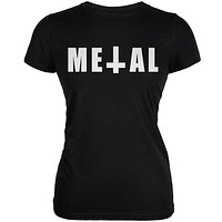 Metal Black Juniors Soft T-Shirt
