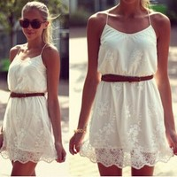 Aliexpress.com : Buy 2014 Woman Sexy Fashion New Summer White Flower Cute Lace Dress Mini Dresses Drop Shipping from Reliable Dresses suppliers on KARA FASHION FACTORY | Alibaba Group