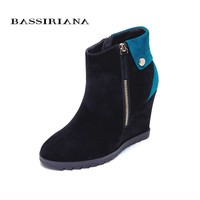 BASSIRIANA - genuine suede leather Wedges heels Winter ankle boots for woman Slip-op platform winter shoes 35-40 Free shipping