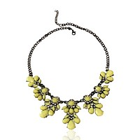 Acrylic Flower and Crystal Chain Necklace