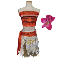 Girls Moana Cosplay Costume for Children Moana Costume with headwear for Adult Women Halloween Costumes for Kids Girls Gift