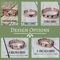 Rings, Boho, Customized, Copper, Hand Stamped, Wire, Free, Bird, Spirit, Quote, Simple, Hippie, Gypsy, Trendy, Stylish, Thin, Small, Words