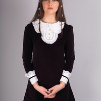 Black Velvet, Mod Dress With White Collar and Cuffs