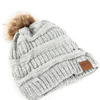 White and Gray Pom Pom Winter Hat