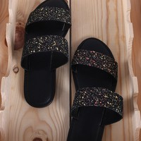 Glitter Encrusted Open Toe Double Band Slide Sandal