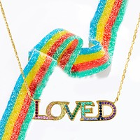"""LOVED Necklace with Rainbow Swarovski Crystals 18"""""""