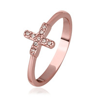 Cross Crystal 18K Rose Gold Plated Ring