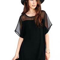 Black Mesh Sleeve Loose Dress