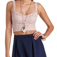Cropped Lace Bustier Top by Charlotte Russe - Blush