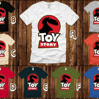 Toy Story Dino like Jurassic Park Theme Design for classic man T-shirt