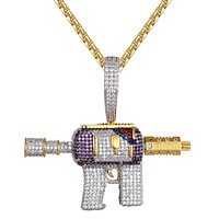 Mens Lean Purple Drank Syrup Icy AK-47 Gun Custom Pendant