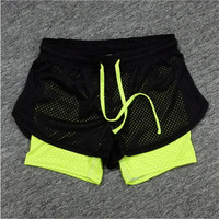 Cotton Mesh Work-out Two Layer Fitness Fold Short
