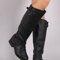 Buckle Ruched Riding Knee High Boot