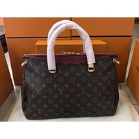 LV Fashion Hot Selling Lady's Full Print Single Shoulder Bag Wine red