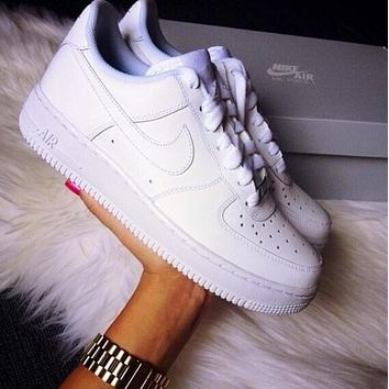 Tagre NIKE Women Men Running Sport Casual Shoes Sneakers Air force White