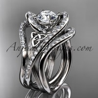 """platinum diamond celtic trinity knot wedding ring, engagement ring with a """"Forever Brilliant"""" Moissanite center stone and double matching band CT7369S"""