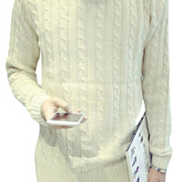 Stylish Solid Cable Knit Pullover Sweater For Men