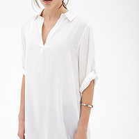 FOREVER 21 Classic Shirt Dress Cream Medium