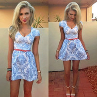 V-Neck Cap Sleeves Filigree Print A-Line Mini Dress