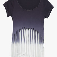 Blue-Gray Washed Fringed Cropped Top