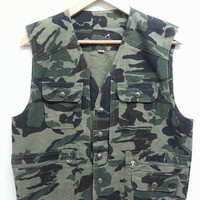 Rare Vintage 80s Rocky Sun Camo Camouflage Militry Outdoor Hunting Vest Jacket