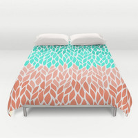 Duvet Cover Teal Mint Coral  Leaf Shape Design Pattern Green Twin Full Queen King Bed Spread