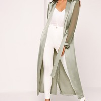 Missguided - Two Tone Satin Chiffon Belted Duster Coat Green