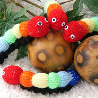 Rainbow Stripes / Multi-Coloured Hand- knitted Toy Caterpillar