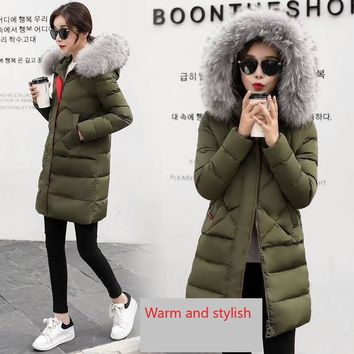 Women's Puffer Down Coat with removable faux fur trim