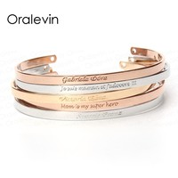 ANY LANGUAGE Inspirational Message Personalized Bracelet Initial Engraved Name Cuff Custom Bracelet & Bangle for woman Jewelry