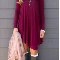 Solid Long Sleeve Dress