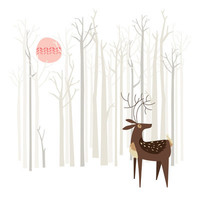 Reindeer of the Silver Wood Art Print by Poppy & Red   Society6