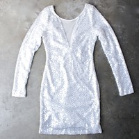 dazzling white sequin dress