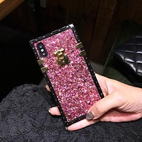 Dazzling Rivet Square Phone Case For iPhone And Samsung