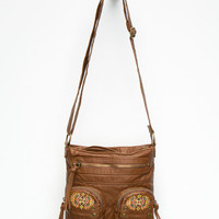T-Shirt & Jeans Evie Embroidered Crossbody Bag Cognac One Size For Women 26062440901
