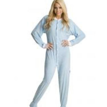 Blue Terry Cloth Adult Footed Pajamas