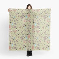 'Natalias Woodland Animals Green' Scarf by DoucetteDesigns