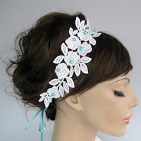 Bridal headband, lace applique fascinator,  weddings dress belts, handmade