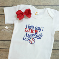 Embroidered Girls Onesuit or Tee with Bow - Baseball - Baby Shower Gifts - Bodysuit - Outfit - Sports