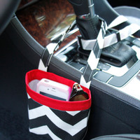 Car Cellphone Caddy ~ Black Chevron ~ Red Band ~ Center Console Handle