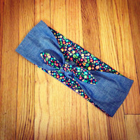 Denim Collection - Reversible Floral/Denim Rockabilly Head Scarf