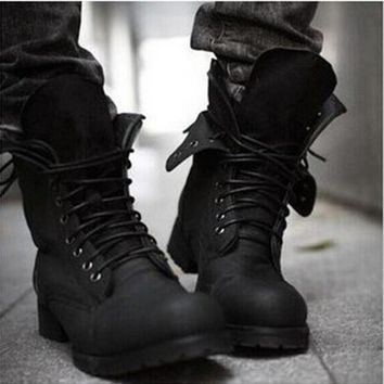 Hot Retro Combat boots Winter England-style fashionable Men's short Black shoes military boots--Free shipping