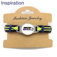 12pcs/lot Seattle Seahawks Football Team Genunie Leather Bracelet Adjustable Leather Cuff Bracelet Bangle For Men and Women Fans