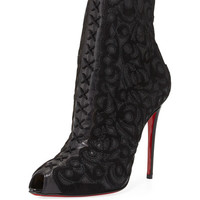 Christian Louboutin Indiboot Lace-Front Red Sole Bootie, Black